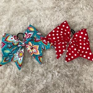 Sewn Fabric Blue Floral Cheer Bow